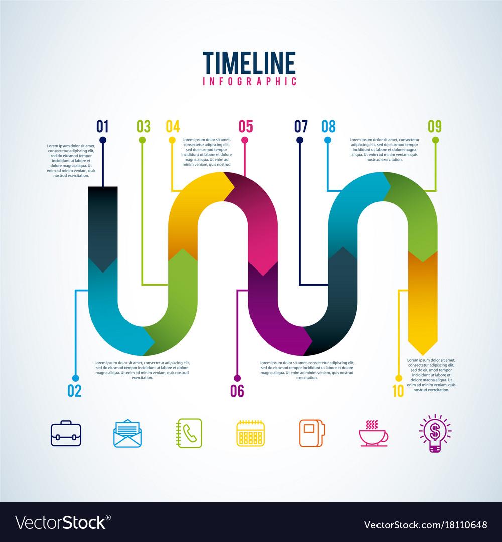 timeline infographic progress workflow option vector image