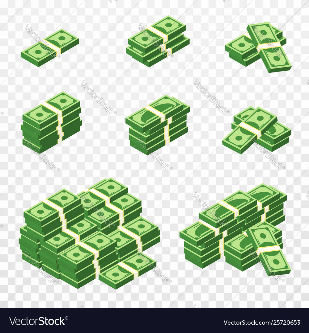 Bunches money in cartoon 3d style set of