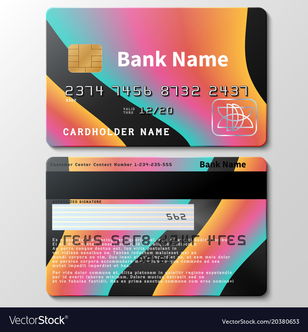 Credit Card Template With Futuristic Royalty Free Vector
