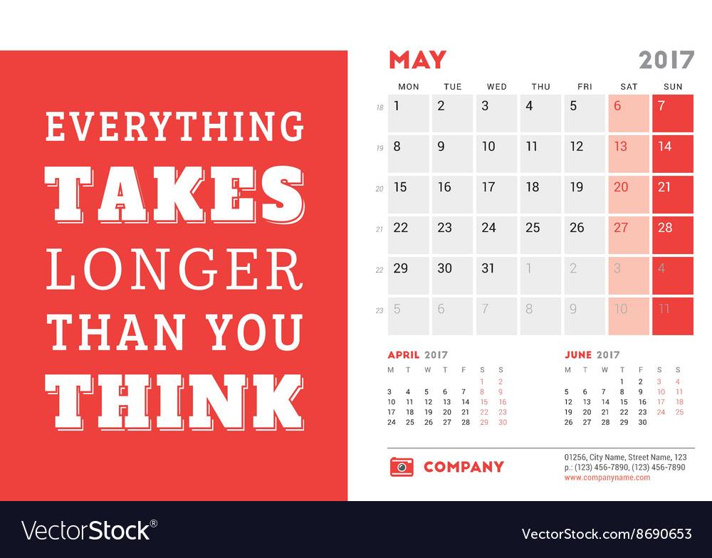 Desk calendar template for 2017 year may design vector image saigontimesfo