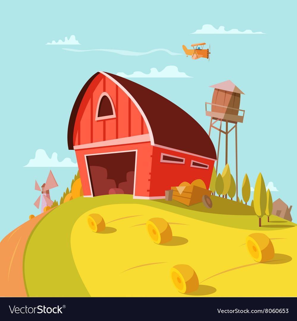 Farm Building Cartoon Background vector image