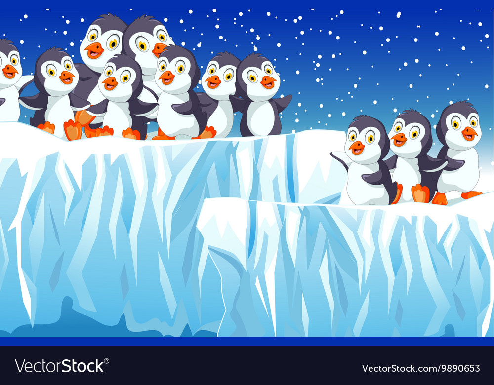 Funny penguins cartoon family with snow mountain