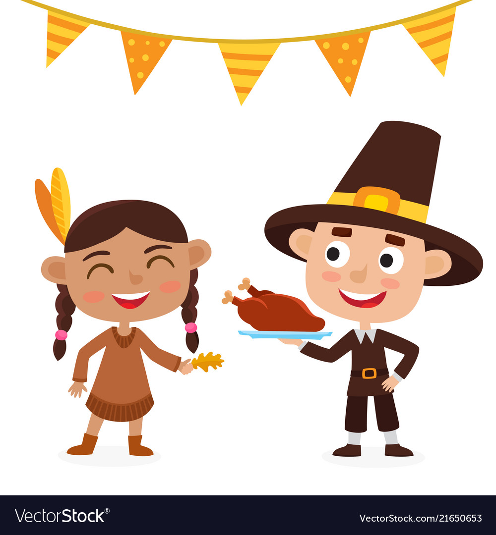 Happy Thanksgiving Day Indian Girl Pilgrim Boy