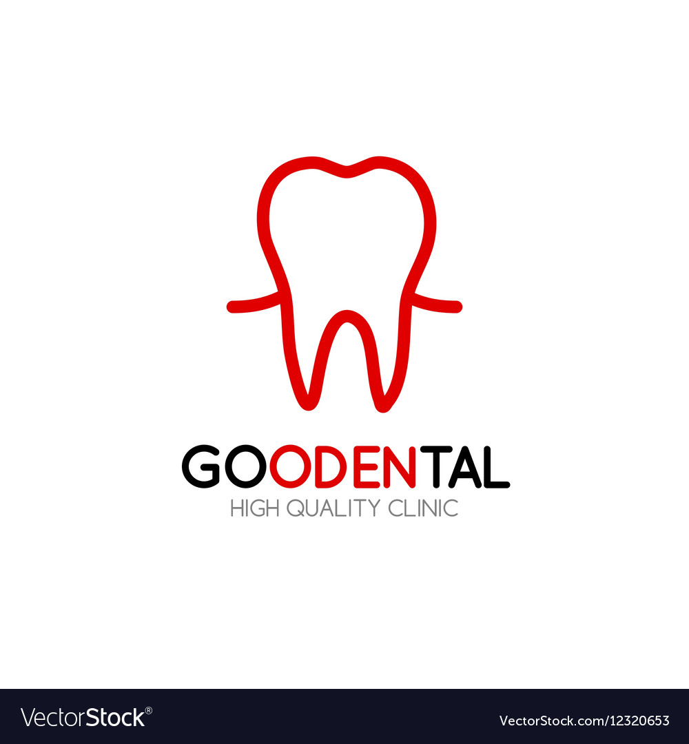 Healthy Tooth Logo Design Template In Linear Style