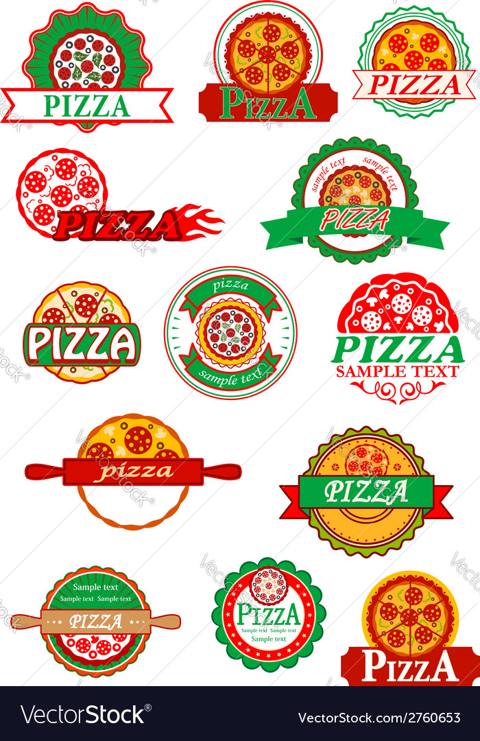 Italian pizza banners emblems and labels set