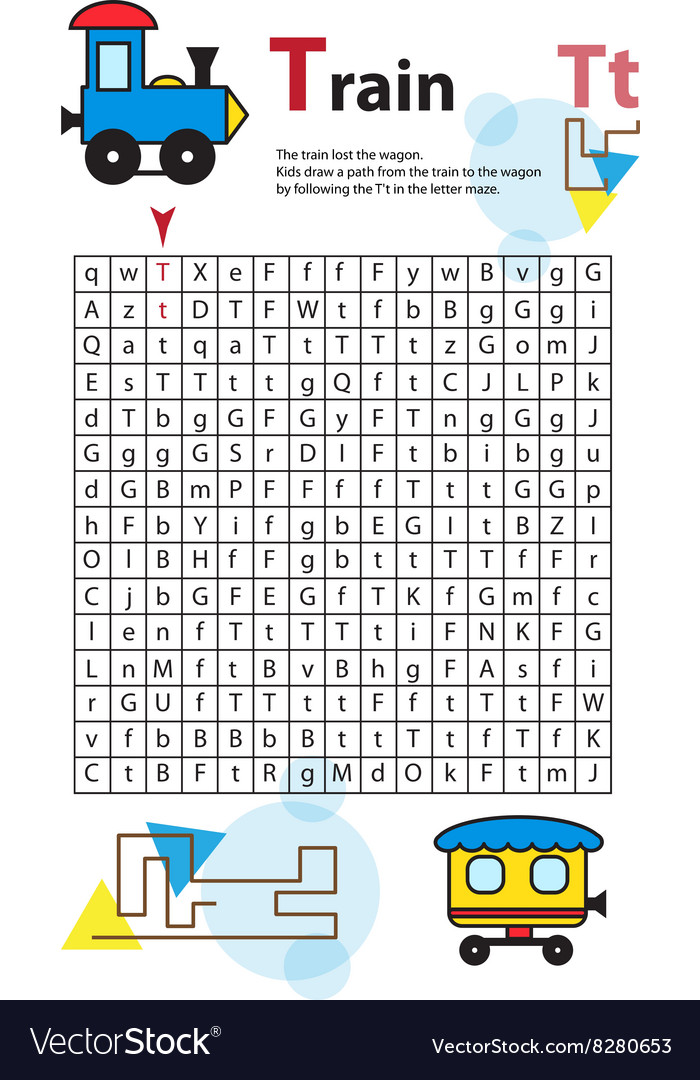 Letter Maze T This worksheet helps kids recognize vector image