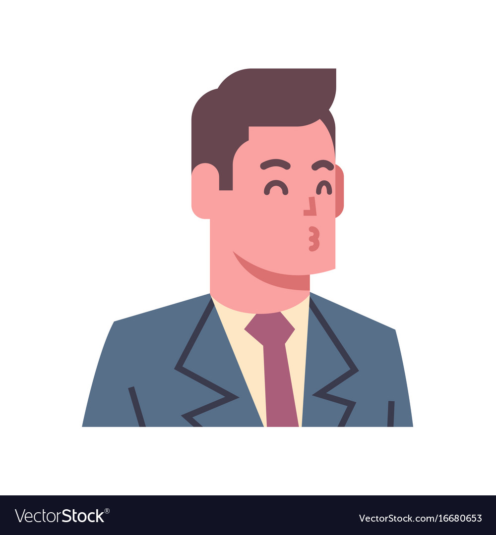 Male blow kiss emotion icon isolated avatar man