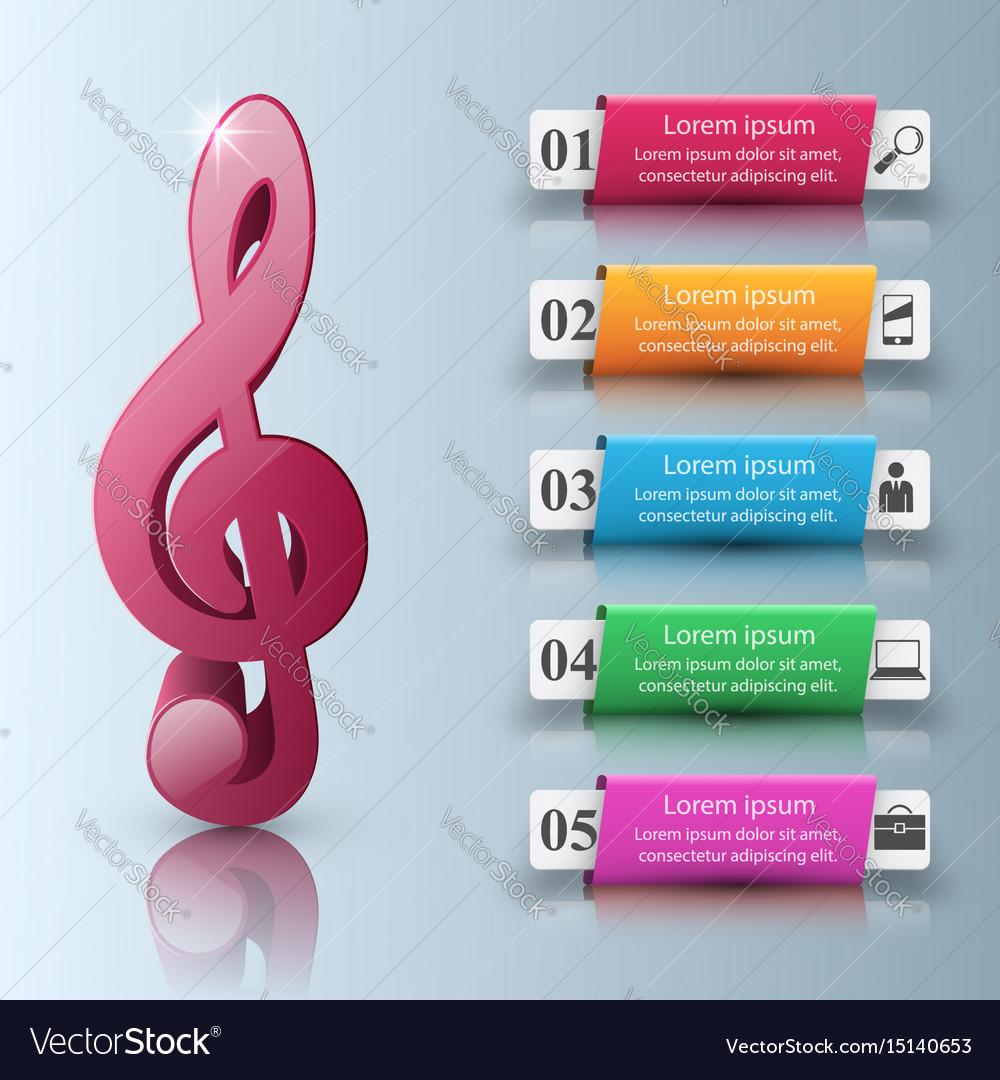Music infographic treble clef icon note icon