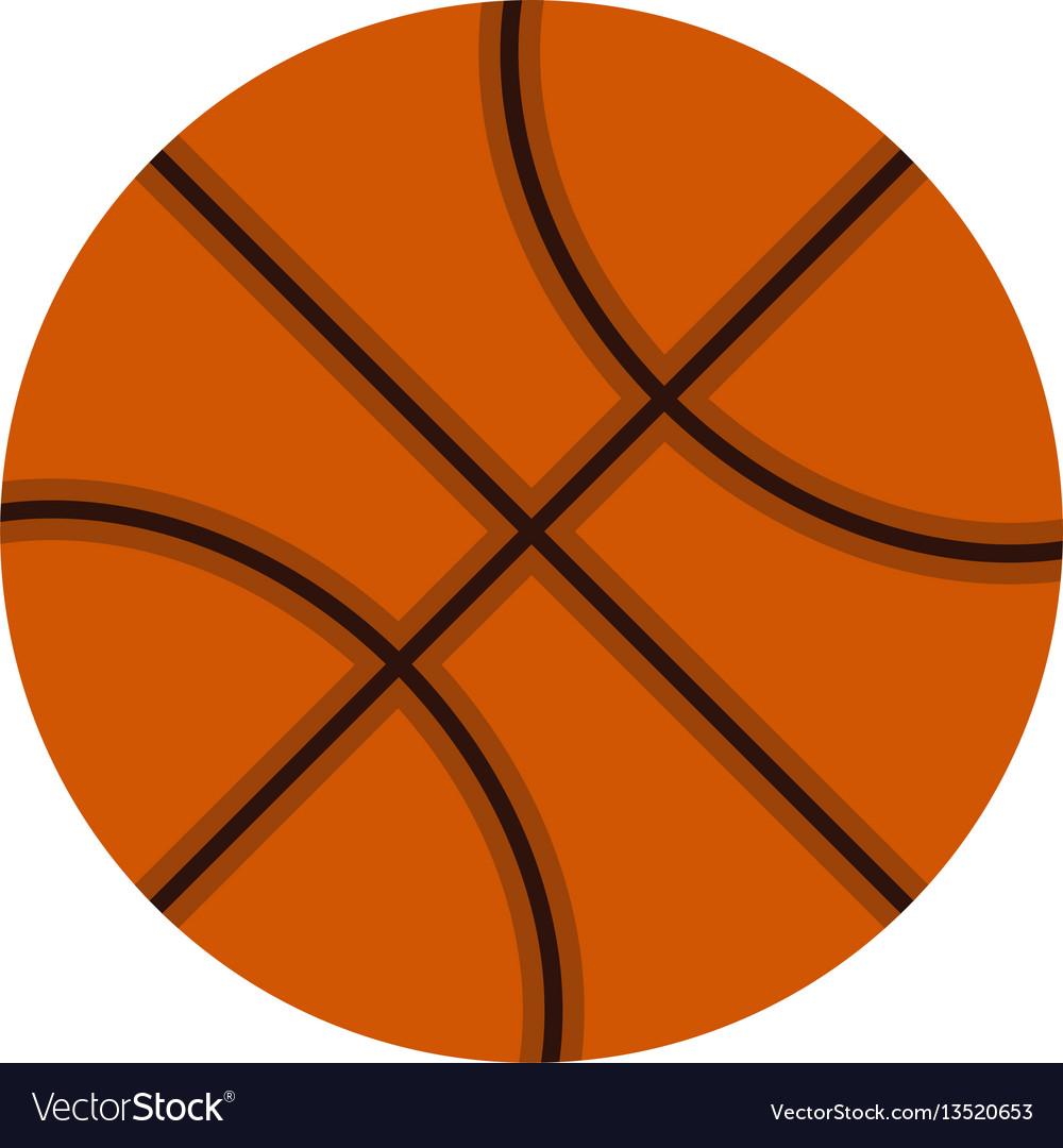 Orange basketball ball icon flat style