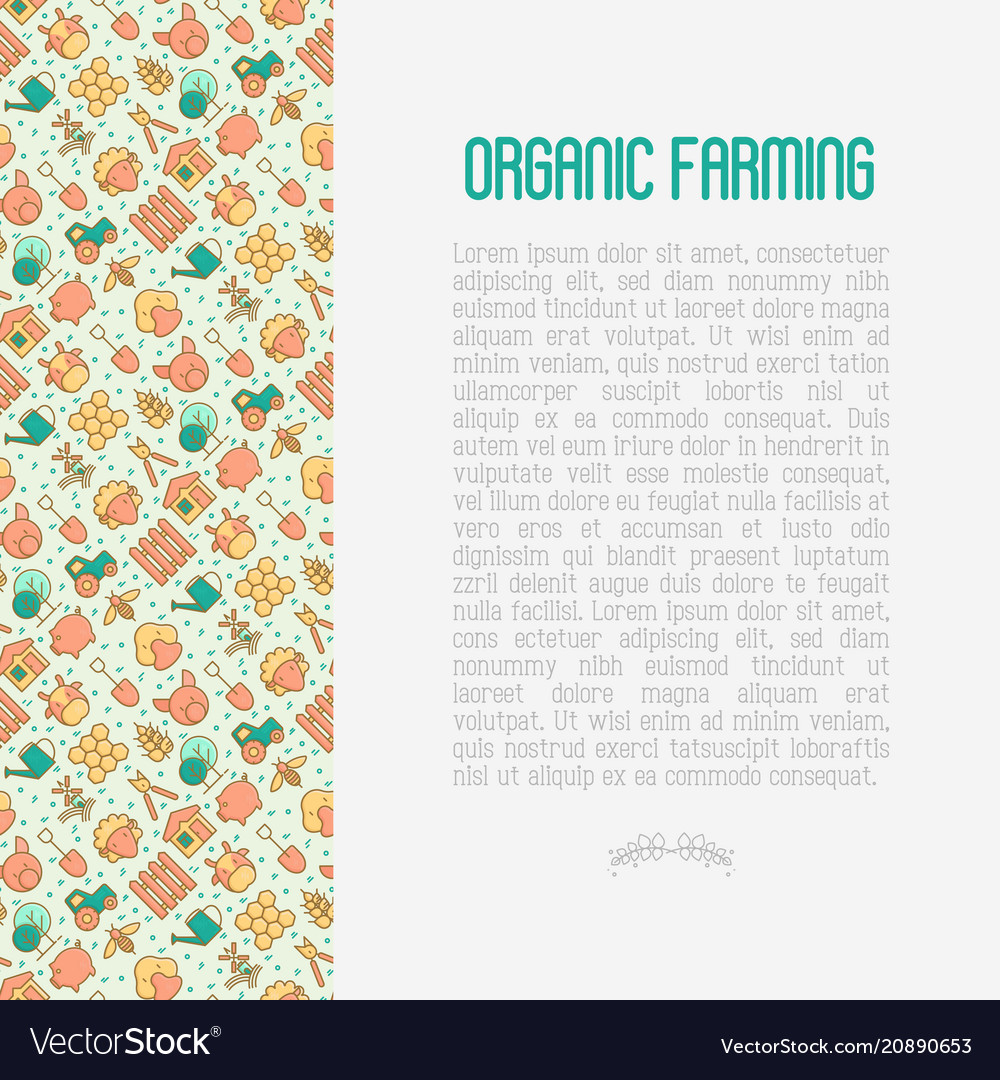 Organic farming concept with thin line icons