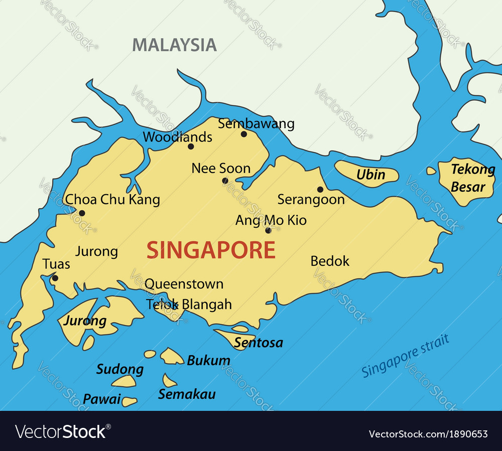 Map Of Singapore Republic of Singapore   map Royalty Free Vector Image Map Of Singapore