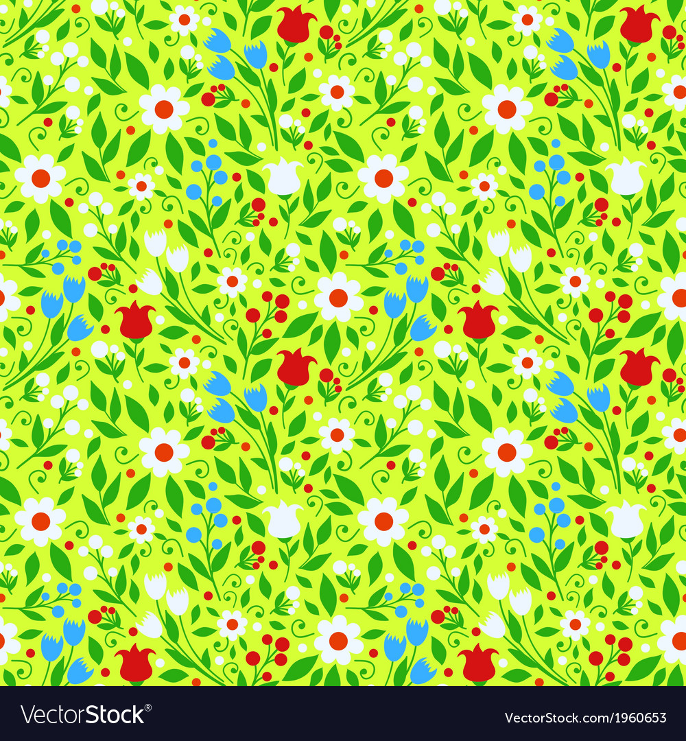 Seamless Pattern Bright Spring Flowers Royalty Free Vector