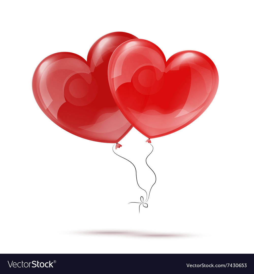 Two 3d red heart balloons