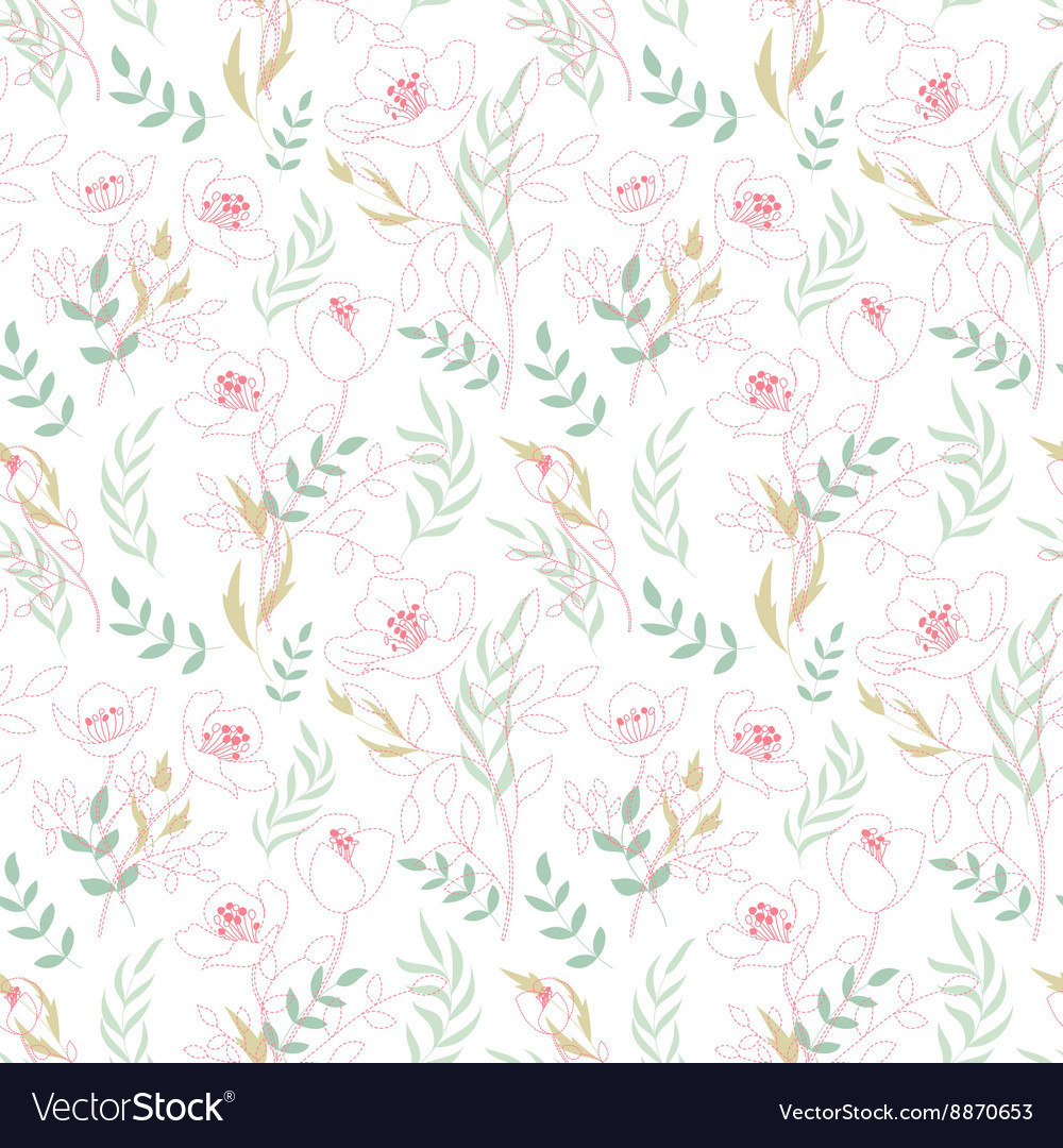 Vintage floral seamless pattern with flowers drawn