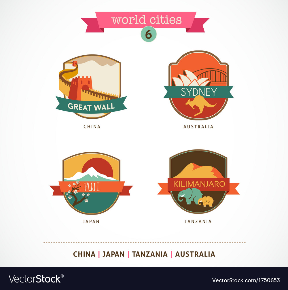 World Cities labels - Sydney Great Wall Fuji vector image
