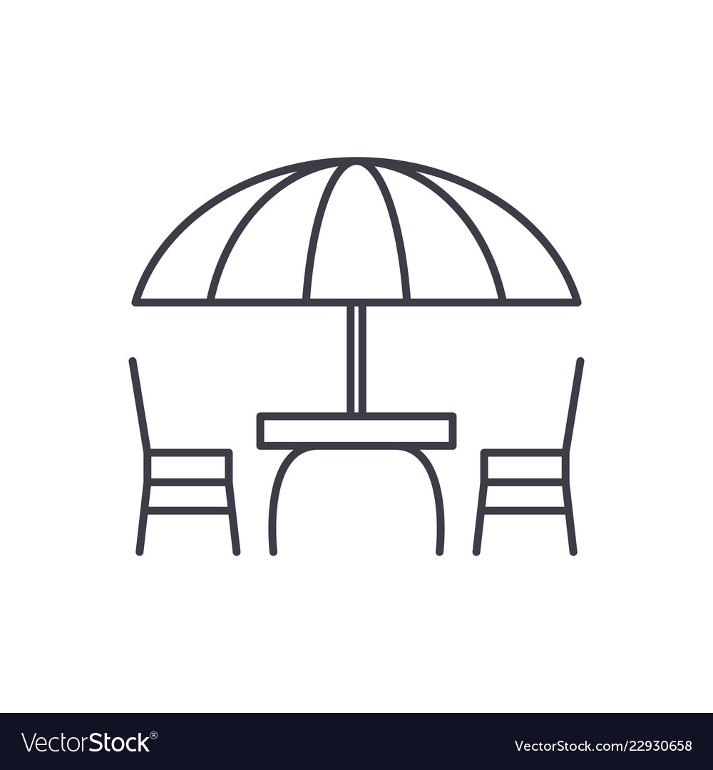 Beach table and chairs line icon concept beach
