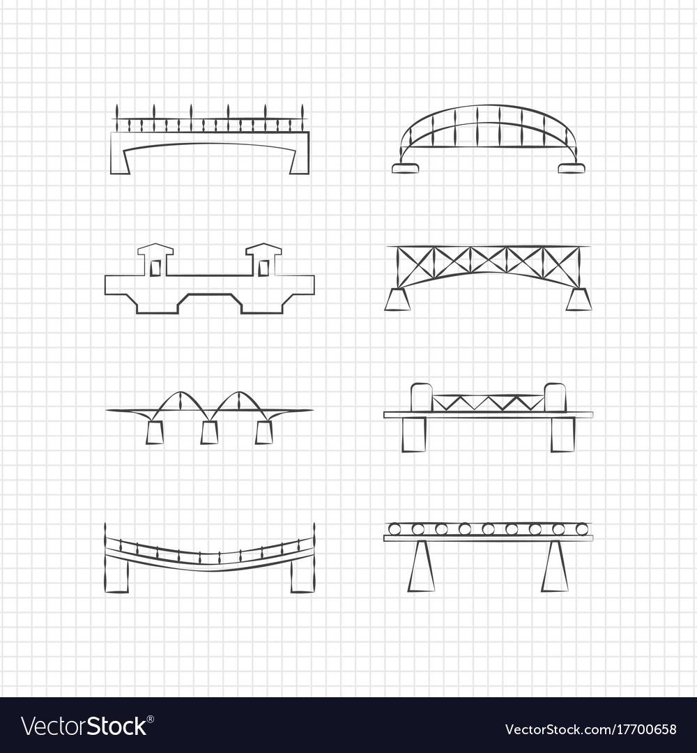 Bridges thin line icons