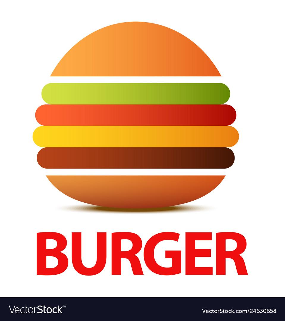 Burger logo or icon for cafe creative flat