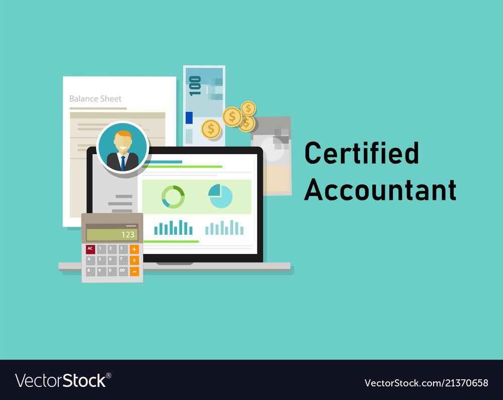 Certified accountant ca paper calculator laptop