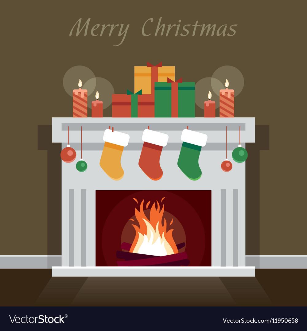 Christmas Fire Place.Christmas Fireplace