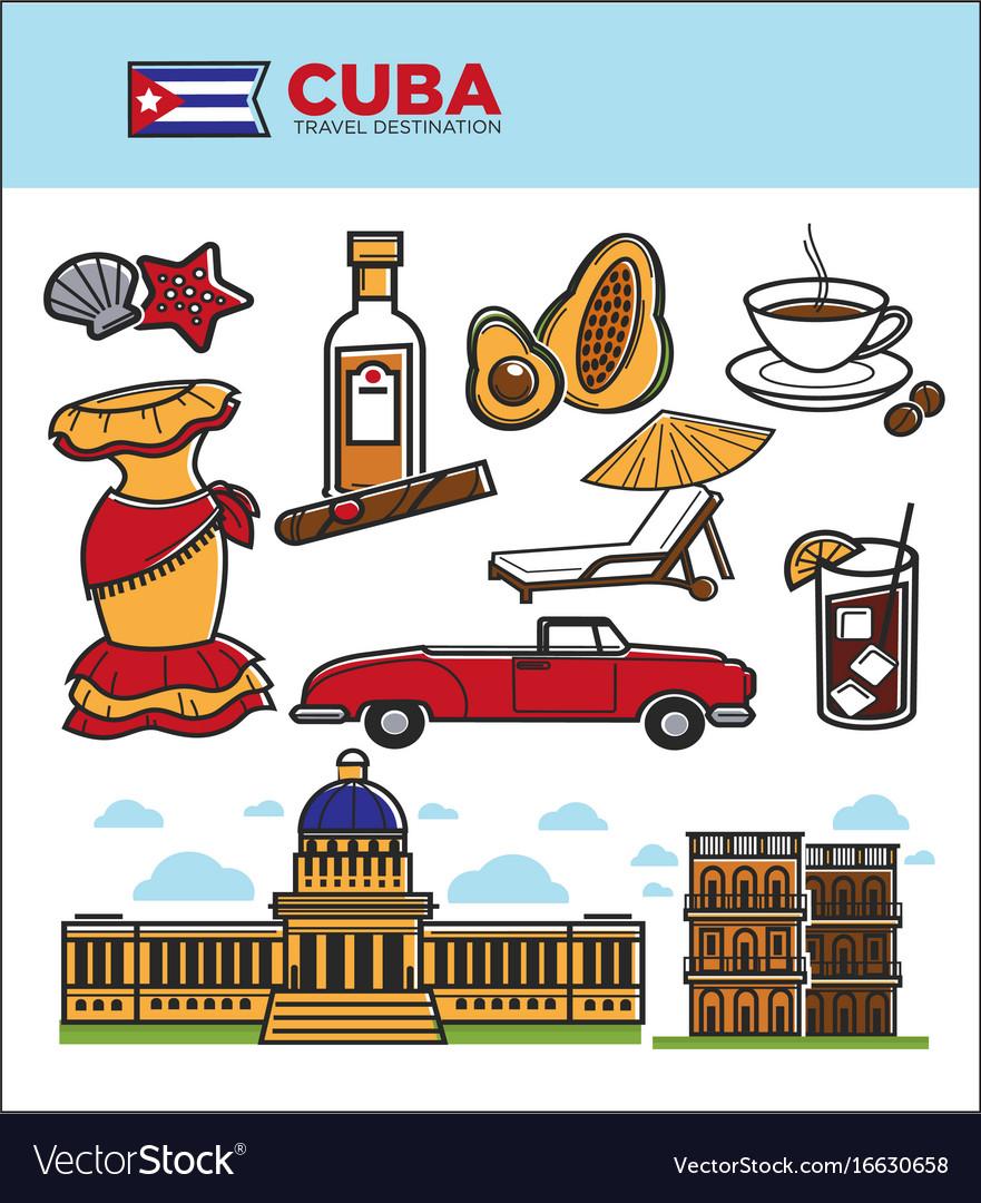 Cuba travel landmarks symbols and tourist
