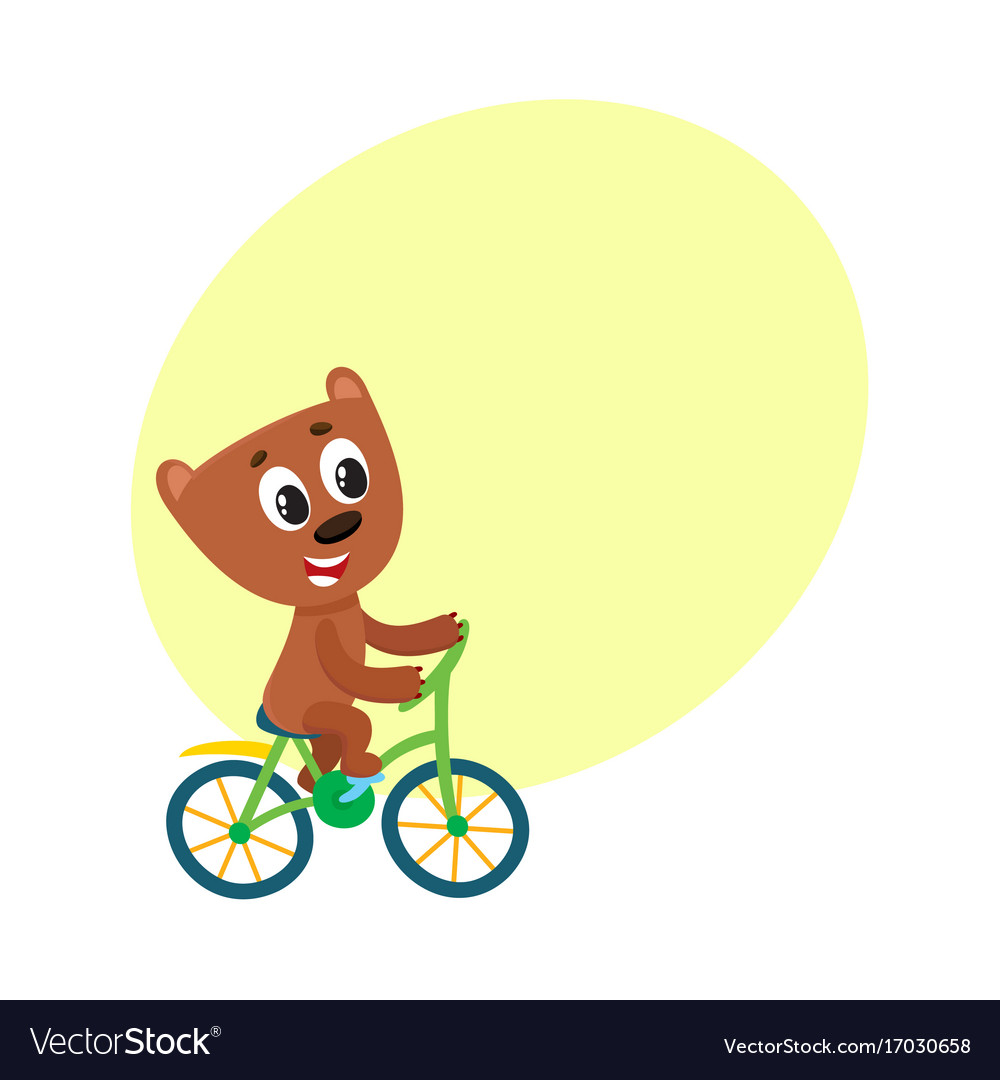 Cute little bear character riding bicycle cycling vector image