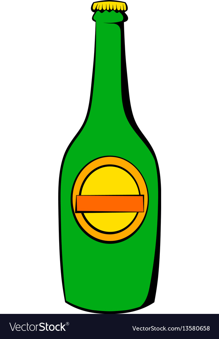 Green bottle of beer icon icon cartoon