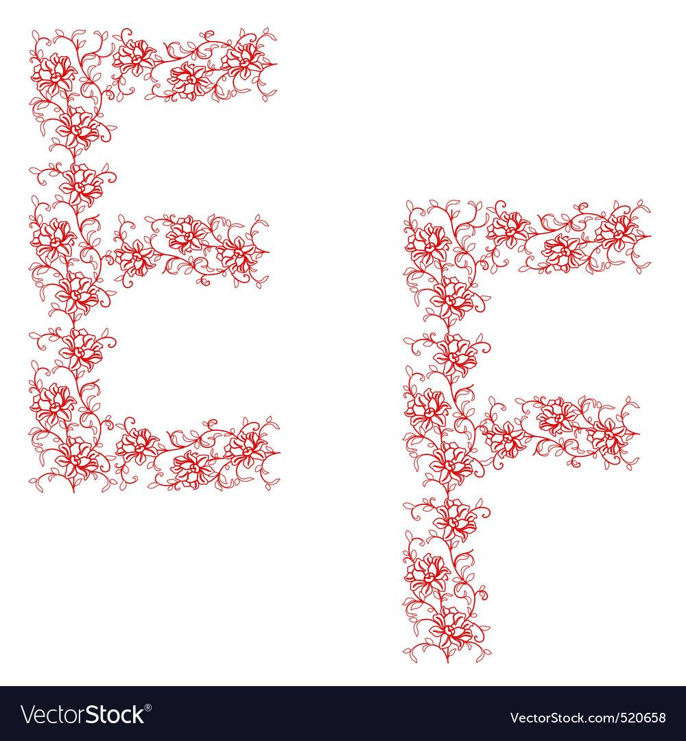 Hand drawing ornamental alphabet letter ef