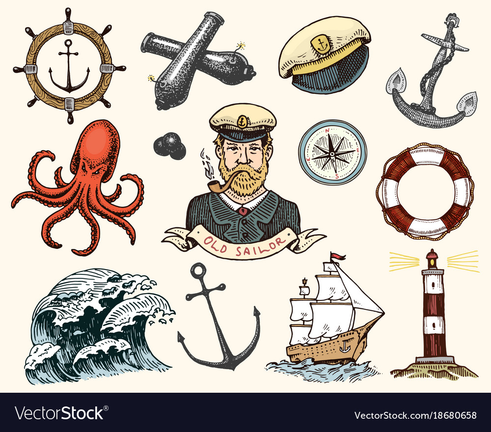 Marine and nautical or sea ocean emblems set of