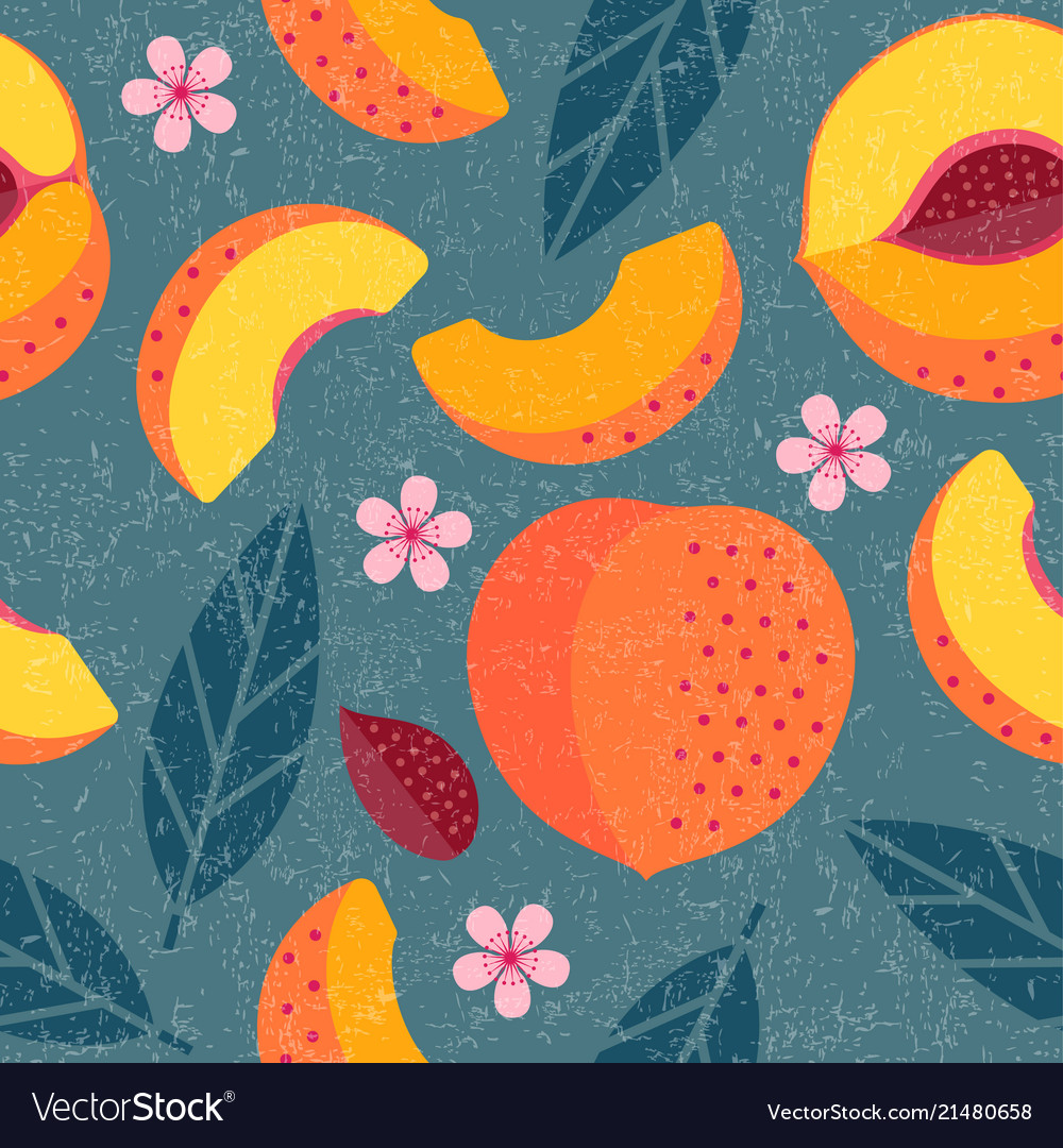 Peach seamless pattern leaves flowers