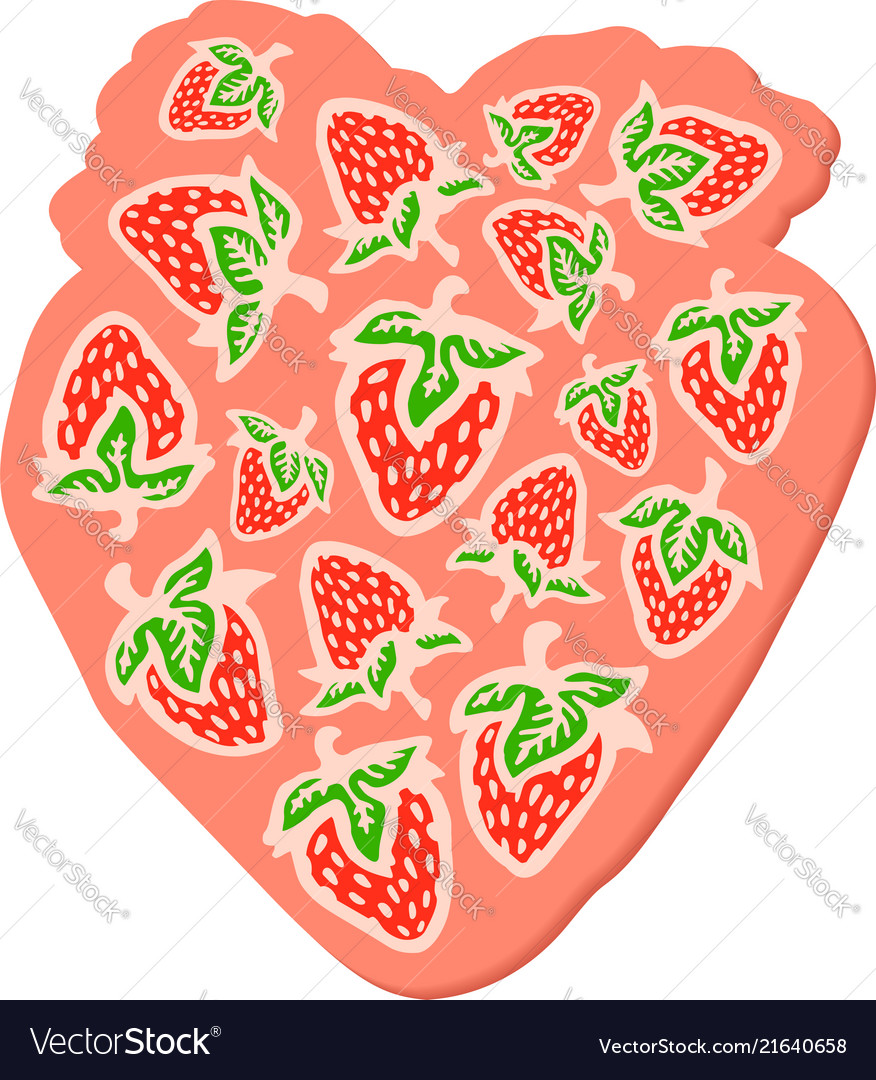 Pink symbol with strawberries on white background