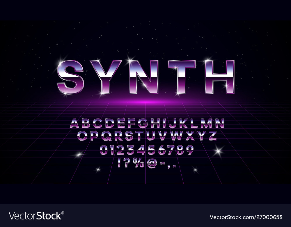 Retrowave synthwave vaporwave font in 1980s style