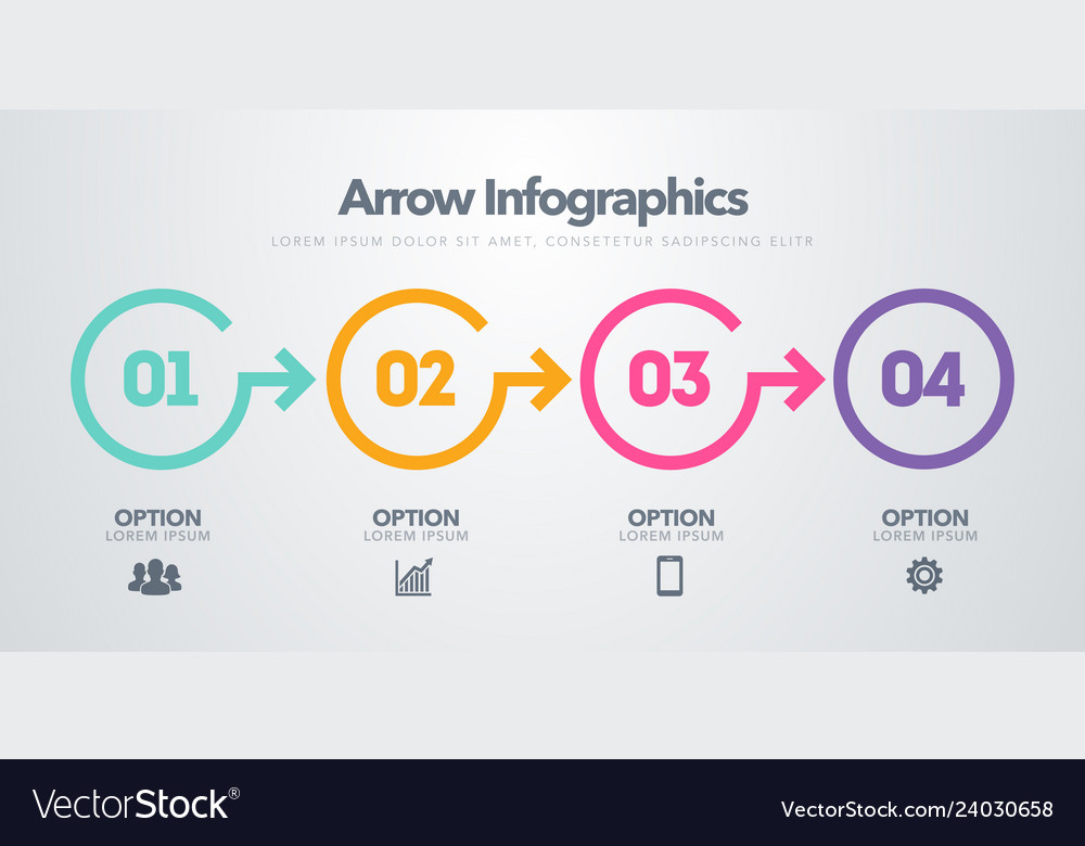Timeline with 4 circles steps number options
