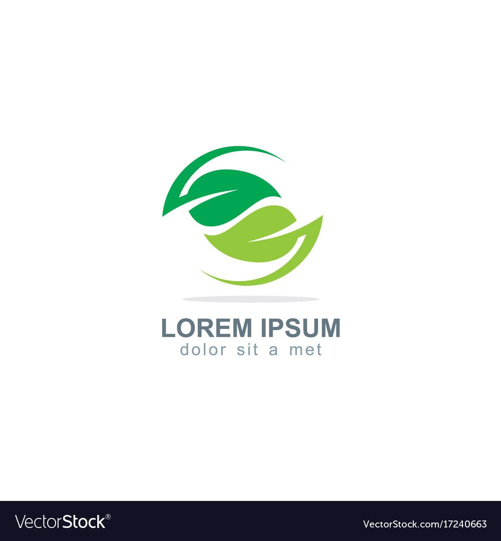 Circle green leaf organic logo