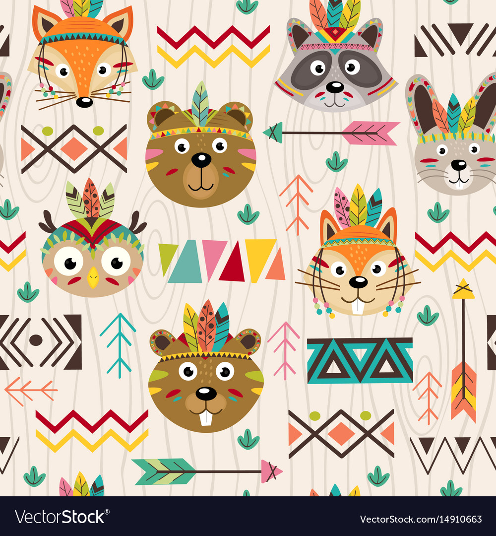 Seamless pattern with tribal animals faces