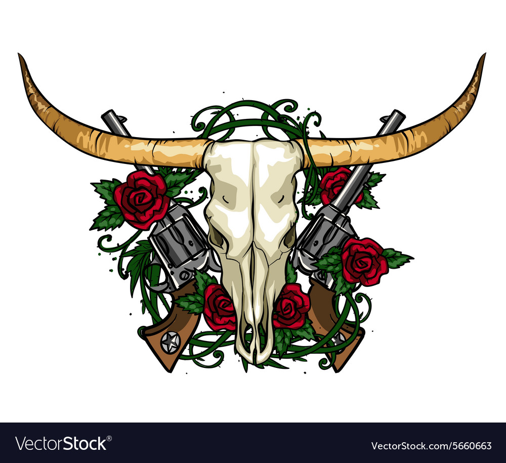 Skull and Roses label design vector image