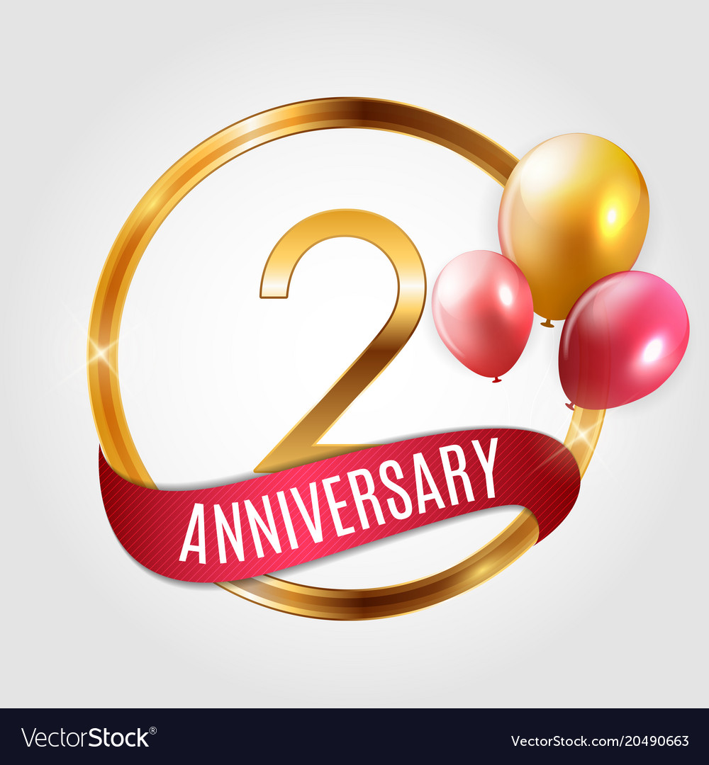 template gold logo 2 years anniversary with ribbon