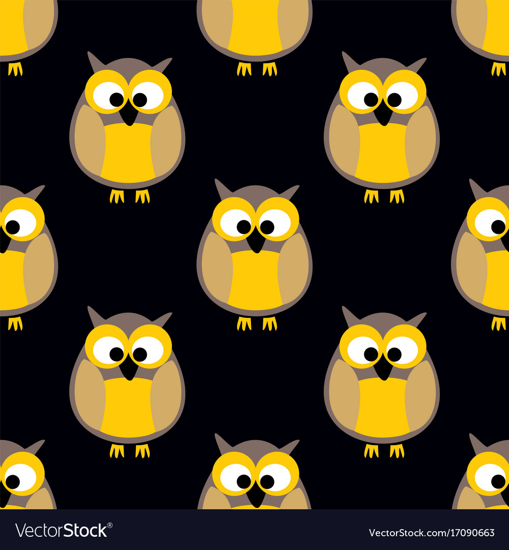 Tile pattern with owls on black background