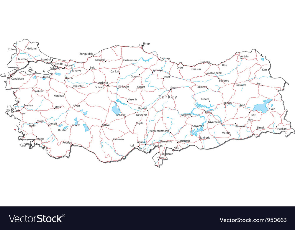 Turkey Black White Map