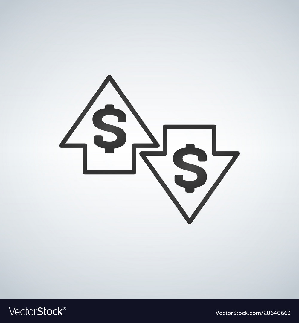 Up and down arrows with dollar sign in flat icon