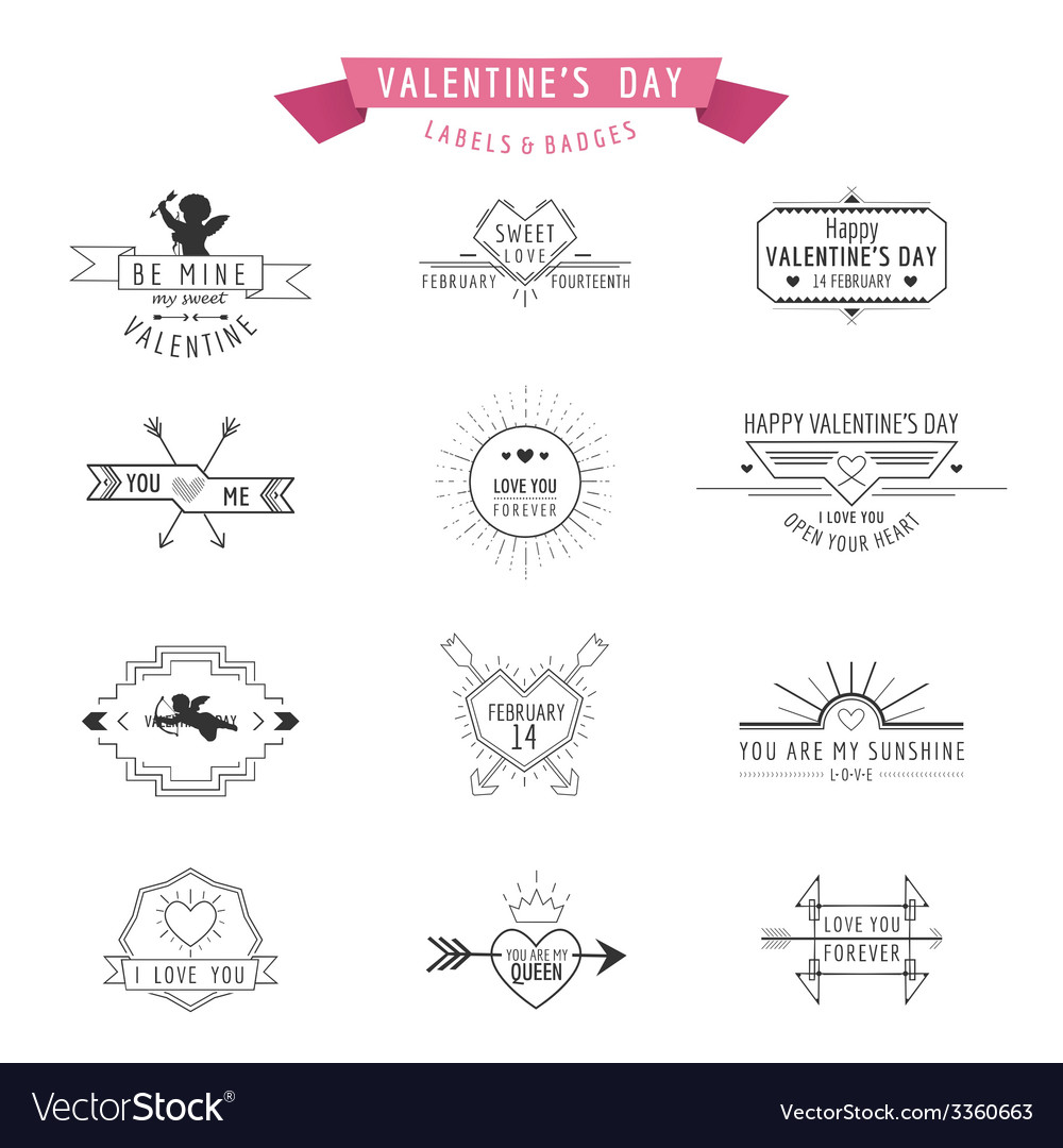 Valentines Day - Set of Badges and Labels