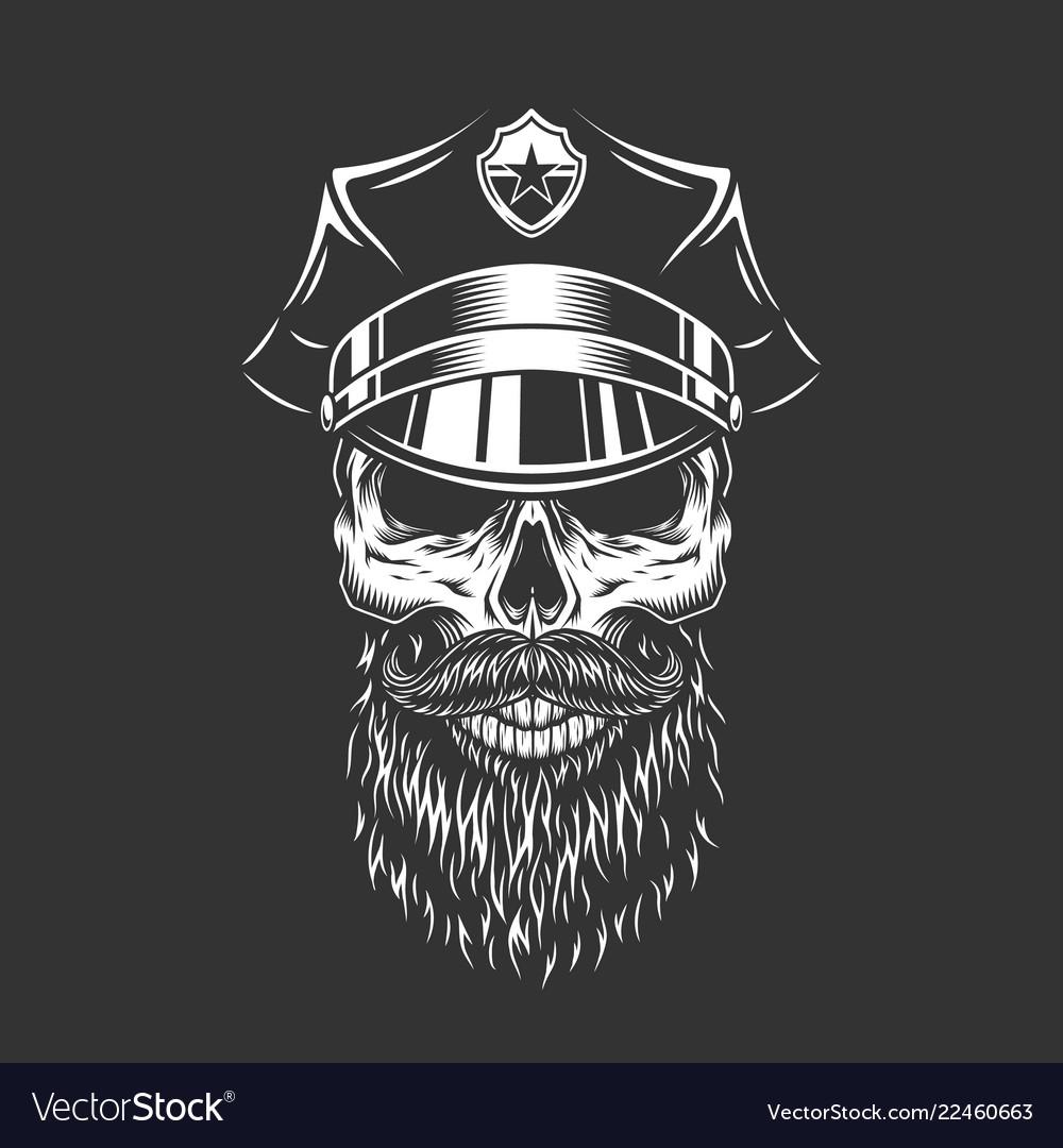 Vintage monochrome police officer skull