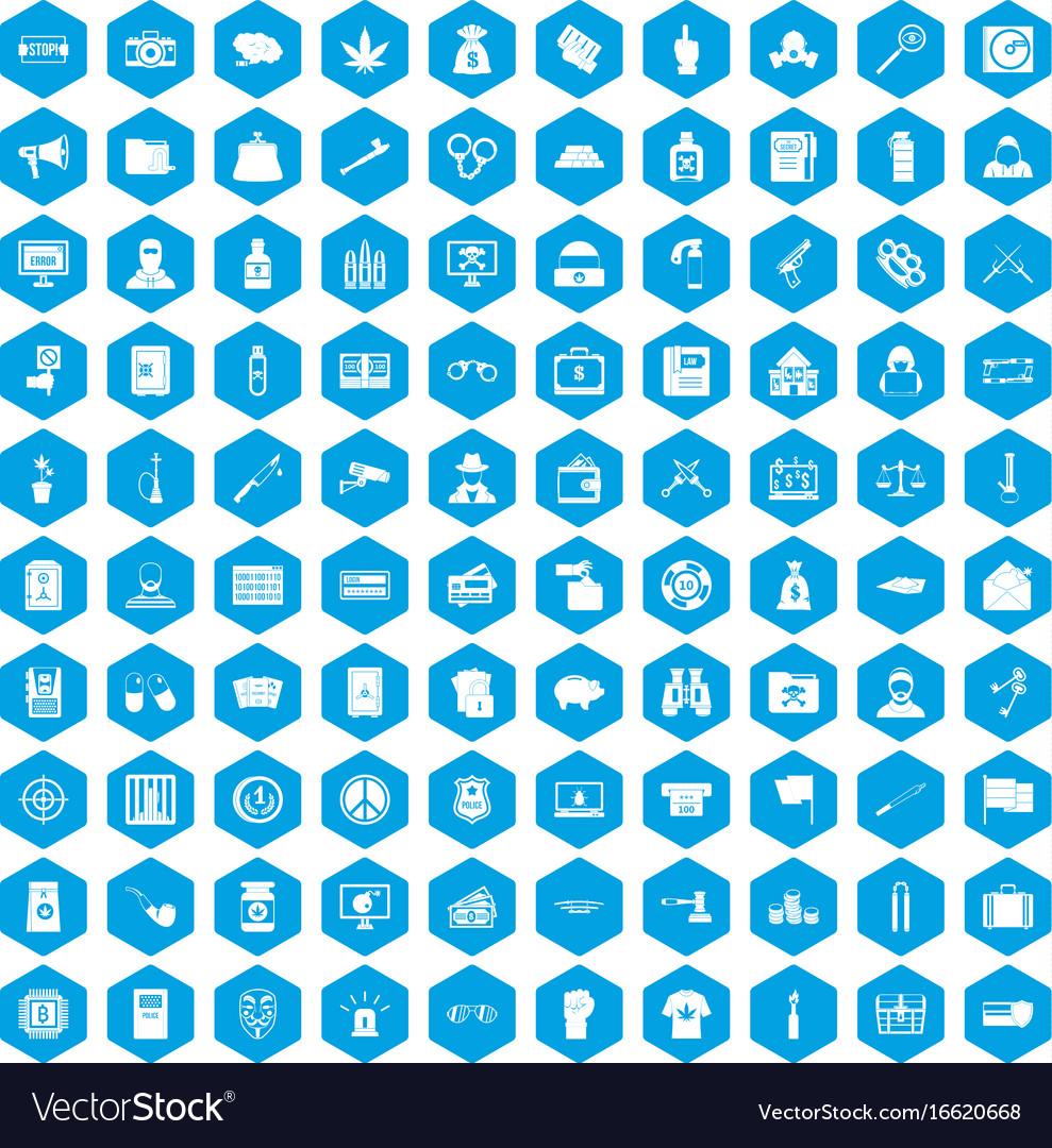 100 criminal offence icons set blue vector image