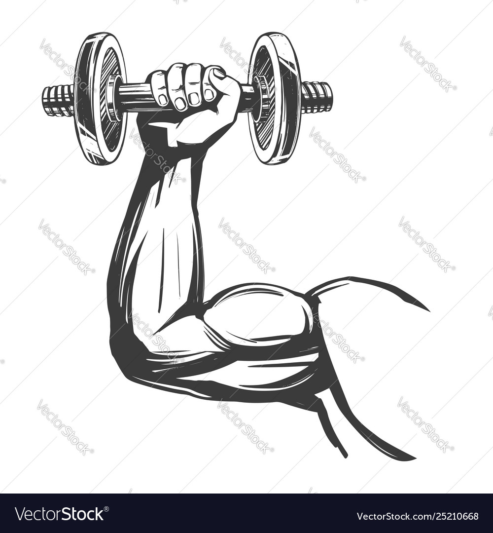 Arm bicep strong hand holding a dumbbell icon