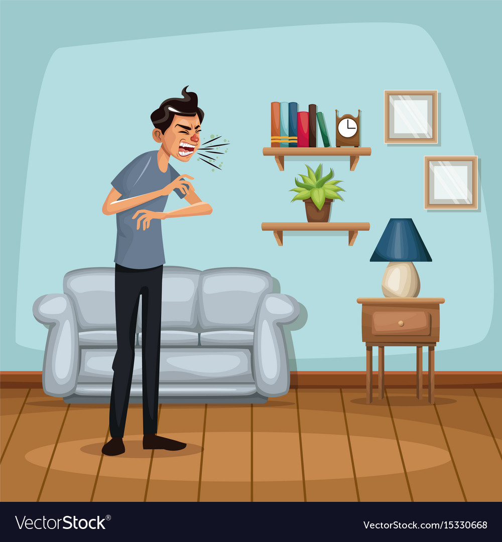 Background living room home with sneeze sickness