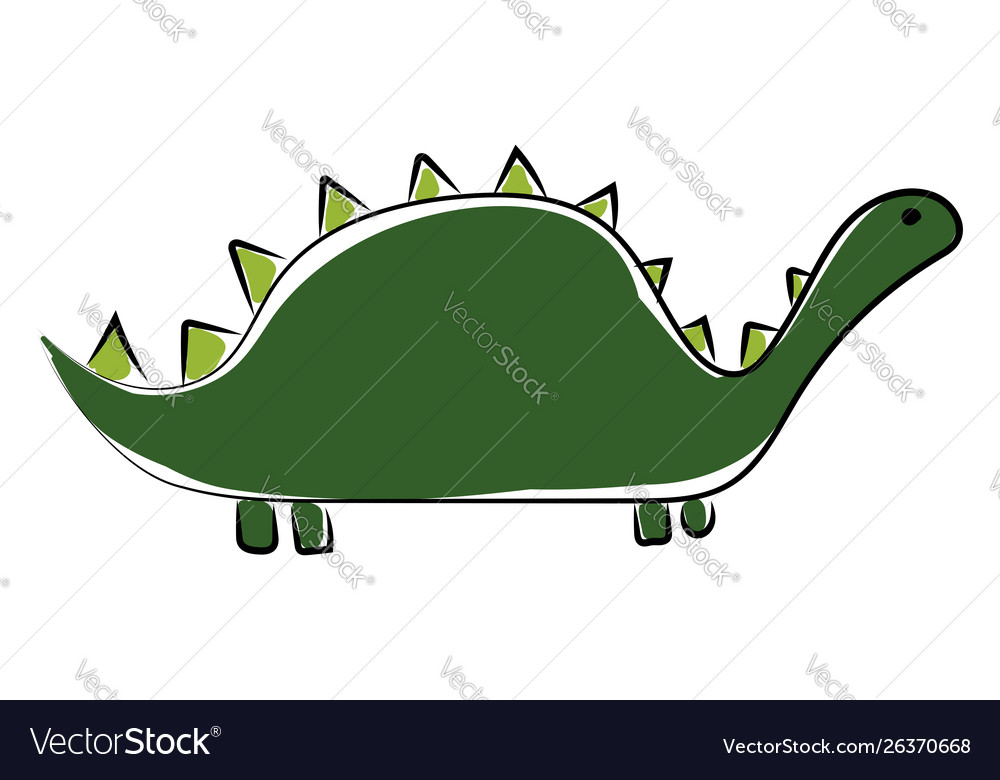 Big green dinosaur on white background