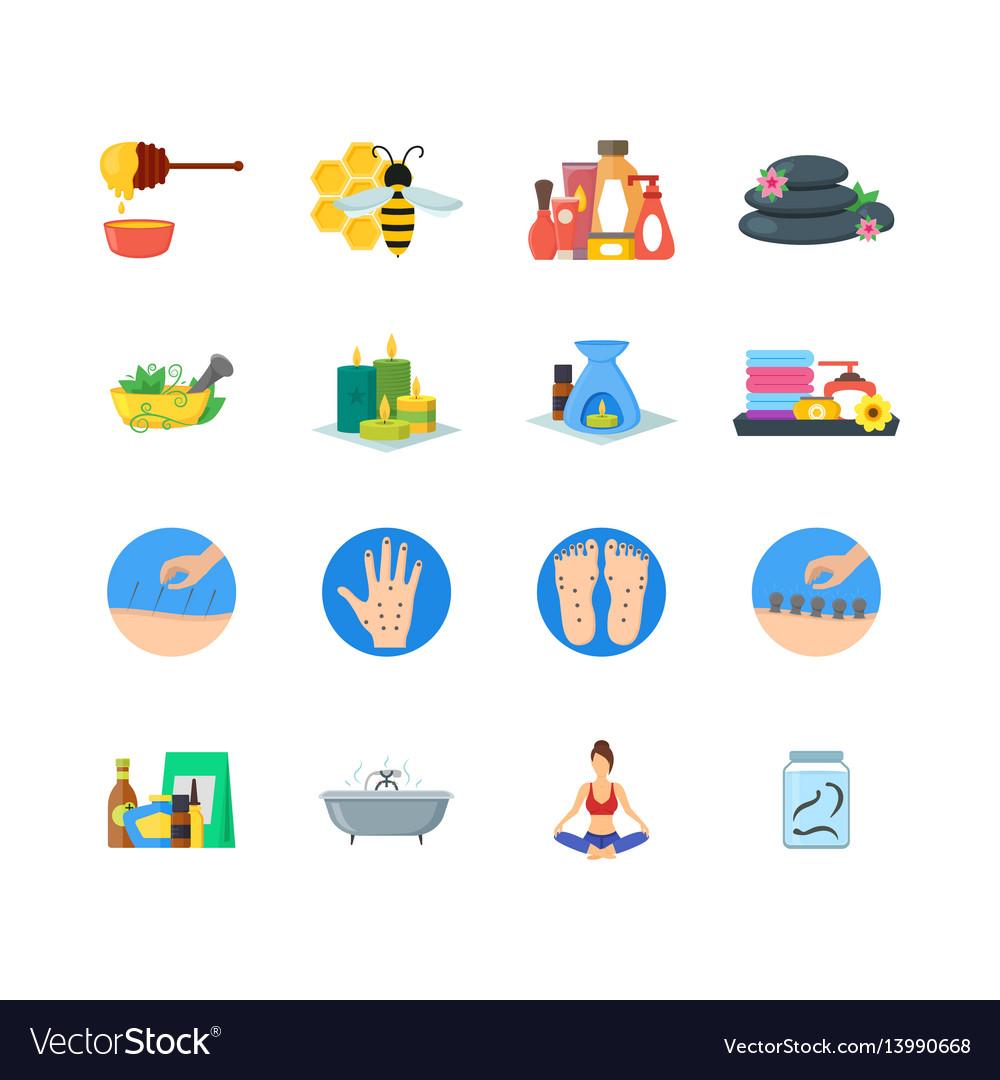 Cartoon alternative medicine colorful icons set
