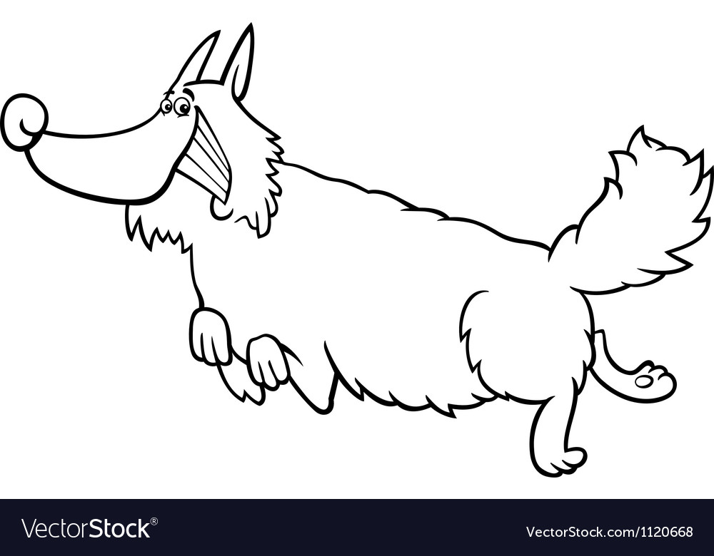 Cartoon shaggy dog for coloring book vector image