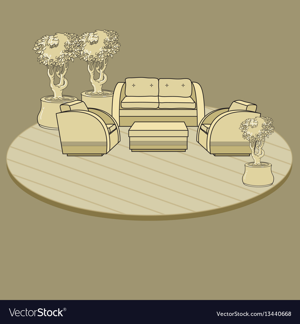 Chairs table and flowers in pot on terrace o vector image