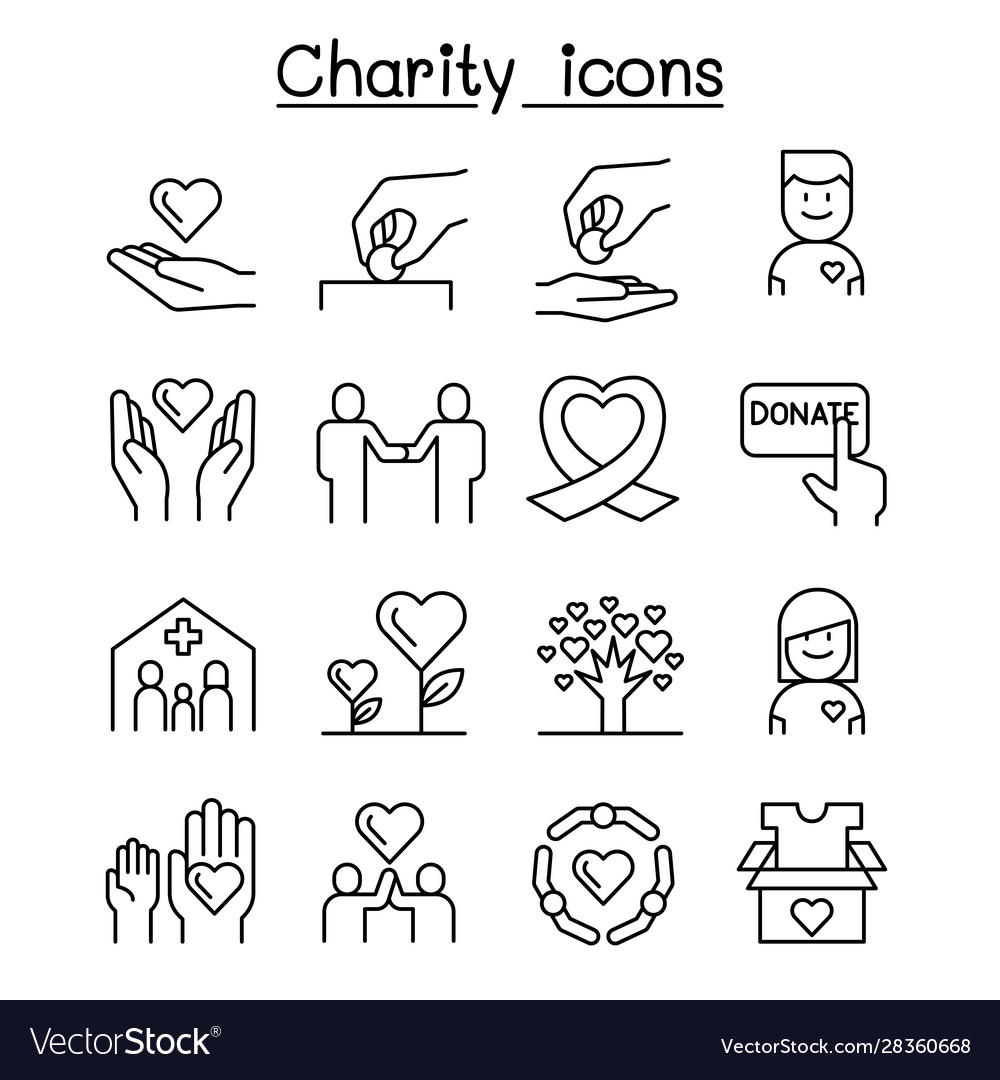 Charity volunteersympathy helping icon set in